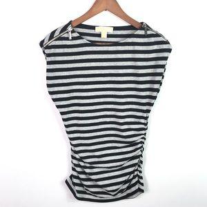 Michael Kors Women's Striped Top Size M Cap Sleeve